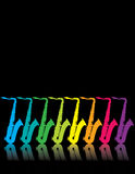 Colorful saxophones background Stock Images