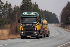 Colorful Scania R500 High Beam Lights on the Road Stock Images