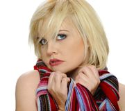 Colorful scarf on a blond Stock Photography