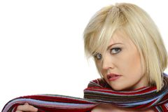 Colorful scarf on a blond Royalty Free Stock Photo