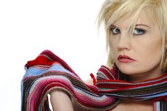 Colorful scarf on a blond Royalty Free Stock Photos