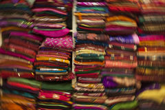 Colorful scarf shop Stock Images