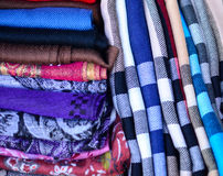 Colorful scarfs background Royalty Free Stock Photo
