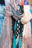 Colorful scarfs made of silk Stock Photo