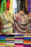 Colorful scarfs at market Stock Image