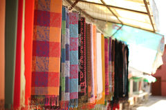 Colorful scarfs in row Stock Photography