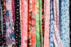 Colorful scarfs for sale Stock Photos