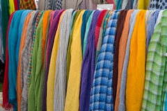 Colorful scarfs for sale Stock Image