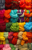 Colorful scarves. Colorful display with bunch of wrapped scarves Royalty Free Stock Photography