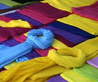 Colorful scarves. On market stall Stock Photography