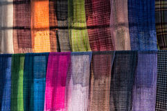 Colorful scarves. Scarves at a market on the Inle lake in Myanmar Stock Photo