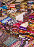 Colorful scarves. At the bazaar in Morocco Royalty Free Stock Images
