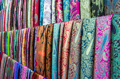 Colorful scarves. Beautiful colorful scarves placed online Royalty Free Stock Photo