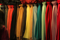 Colorful scarves. At Belfast Christmas market Stock Photo