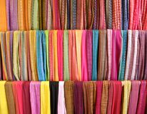 Colorful scarves display. Colorful handmade scarves display in shop Royalty Free Stock Photos