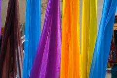 Colorful scarves hanging Royalty Free Stock Image