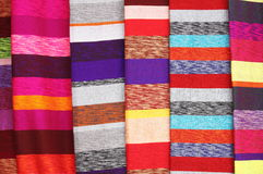 Colorful scarves hanging Stock Photo