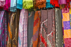 Colorful Scarves Hanging. In a Paris Storefront royalty free stock photos