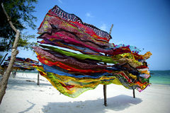 Colorful scarves in Kenya. Colorful scarves on the beach  in Kenya Royalty Free Stock Photography