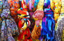 Colorful scarves. Many colorful scarves in a row Stock Photos