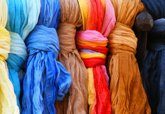 Colorful scarves. Many colorful scarves in a row Royalty Free Stock Photo