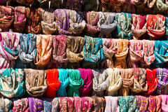 Colorful Scarves at a Market Royalty Free Stock Image