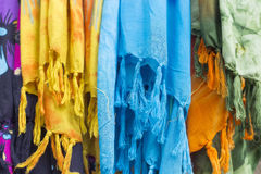 Colorful scarves at a market in Greece. Colors of textiles Stock Photography