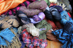 Colorful scarves. Scarves natural colorful northern of Thailand stock photos