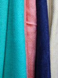 Colorful scarves. Colorful pashmina fashion accessories textile woven scarves Royalty Free Stock Photos