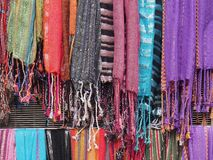 Colorful Scarves, Plaka, Athens Stock Images