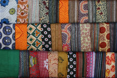 Colorful scarves. Selection of colorful scarves on display Royalty Free Stock Images