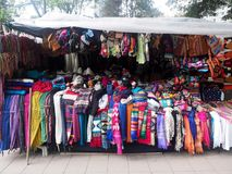 Colorful scarves in Souvenir Stand, Quito, Ecuador. The colorful scarves in Souvenir Stand, Quito, Ecuador Royalty Free Stock Photography