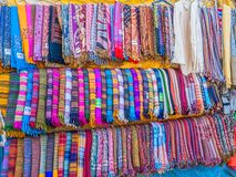 Colorful scarves. In a street market in Dharamsala, India Royalty Free Stock Photography