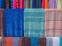 Colorful of scarves in a textiles market Stock Image