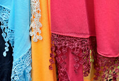 Colorful scarves on village market Stock Photo