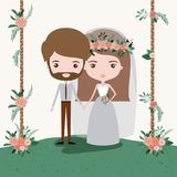 Colorful scene with decorative wooden poles and grass with floral ornaments with couple of just married under. Vector illustration Stock Image
