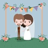 Colorful scene with flags decorative and grass with floral ornaments in wooden poles with couple of just married under. Vector illustration Royalty Free Stock Image