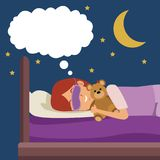 Colorful scene girl with sleep mask dreaming in bed at night embraced a teddy bear. Vector illustration vector illustration