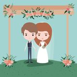 Colorful scene with grass decorative frame in wooden poles with floral ornaments with couple of just married under. Vector illustration Stock Photo