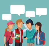 Colorful scene half body group students talking with dialog boxes vector illustration