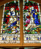 Colorful Scene in a Stained Glass Window Royalty Free Stock Photography