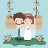 Colorful scene with wooden hanging poster and grass with floral ornaments with couple of just married. Vector illustration Stock Photo