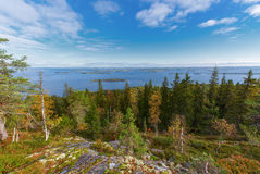 Colorful scenery from Makravaara toward lake Pielinen Stock Photos