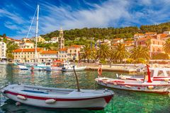 Colorful scenery in mediterranean town Hvar, famous travel place on Adriatic Sea, Croatia. Amazing Hvar city on Hvar island, stock image