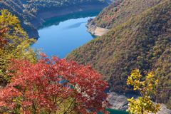Mountain landscape view in canyon of river Piva at Montenegro Royalty Free Stock Photo