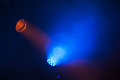 Colorful scenic spot lights and smoke Royalty Free Stock Images