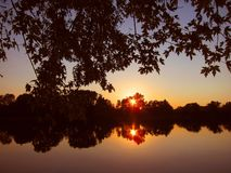 Colorful scenic sunset sun rise on the river pond lake water reflection trees plants Stock Image