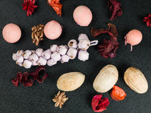 Colorful Scented Potpourri Room Decoration. On a Black Background royalty free stock photos