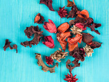 Colorful Scented Potpourri Room Decorations. On a Blue Background royalty free stock photos