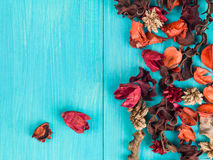 Colorful Scented Potpourri Room Decorations. On a Blue Background stock image